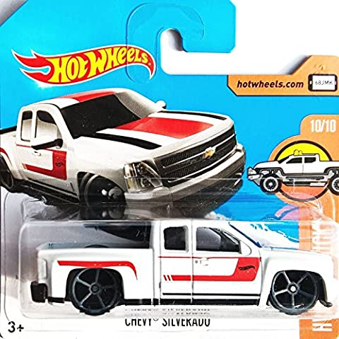HOT WHEELS® Chevy Silverado - Pickup - 1:64 - weiß/rot (Edition HW Hot Trucks 2017 - Short Card)