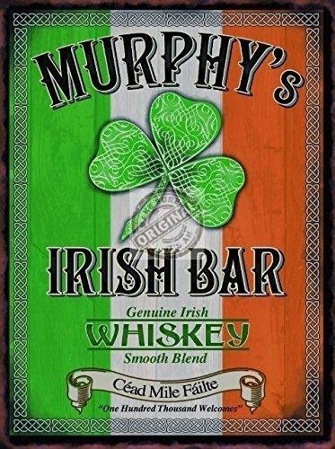 RKO Murphy\'s Irish Bar/Pub Schild. Irische Fahne und Klee und Celtic. Whisky Whisky Drink, Bar für Haus, Heim, Bar oder Kneipe. Metall/Stahl Wandschild - 9 x 6.5 cm (Magnet)