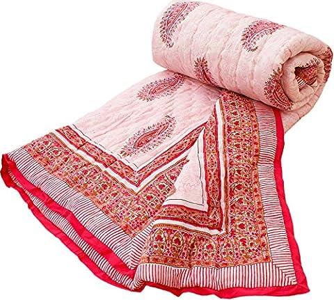 Paisley Design Jaipuri Hand Block Reversible Single Bed Quilt