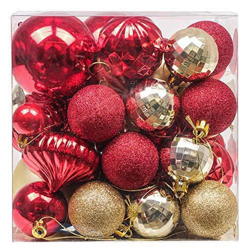 Valery Madelyn 50 Piezas Bolas de Navidad Rojas y Doradas, 30-80mm Bolas y Adornos en Formas Diferentes Brillantes y Mates Adornos Navideños para Árbol con Cadena Pre-Atados
