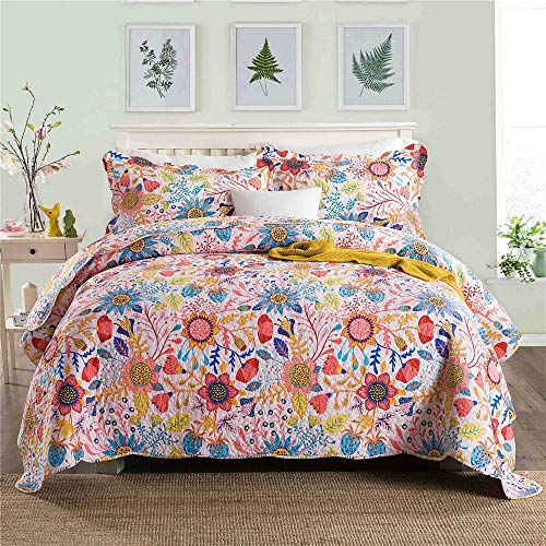 UMOOIN Twill Cotton Tagesdecke Double Beautiful Floral Mehrere Farben gesteppt 3Pcs, Throw mit 2 Pillow Shams,C