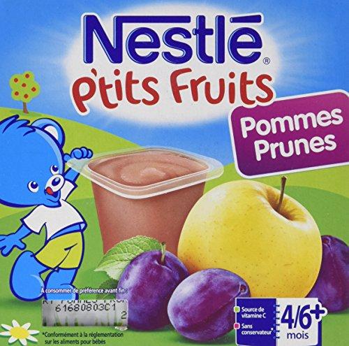 Nestlé Bébé P'tits Fruits Pommes Prunes Compote dès 4/6 mois 4 x 100g - Lot de 6