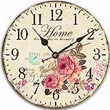 Jinberry 12' (30cm) Retro Vintage Reloj de Pared Silenciosos Antiguo de Madera / Reloj Redondo Quartz Sin Tic Tac para Dormitorio , Salon , Oficina y Cocina
