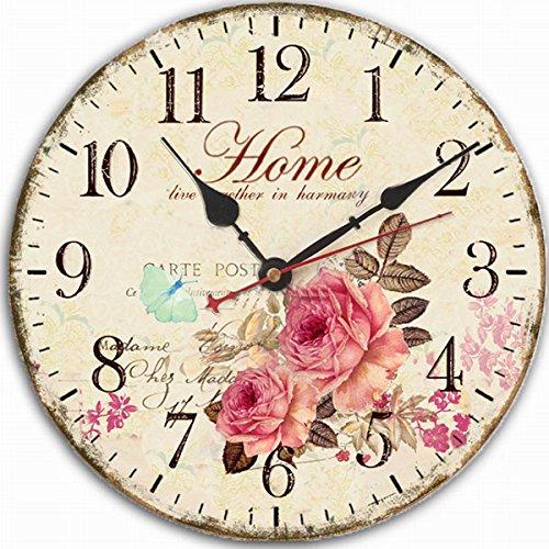 """Jinberry 12"""" (30 cm) Shabby Chic Vintage Rond Silencieuse Pendule Murale en Bois / Ancien Rustique Rétro Horloge Analogique, sans Tic Tac (Style-D)"""