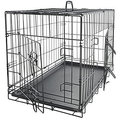 OxGord Wire Metal Cage Pet Cat/Dog Double Door Kennel Crate Stainless Steel FREE Divider - 2014 Newly Designed by OxGord