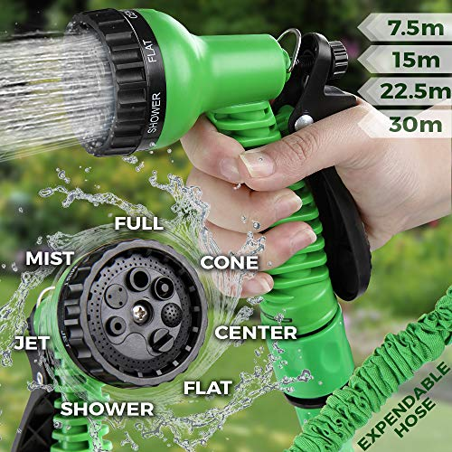 Jago Flexibler Gartenschlauch | mit Multifunktions Sprühkopf (7 Funktionen), Wasserdruck von Max. 6 bar und Verschiedene Länge der Schlauchpfeife | Wasserschlauch, Schlauch, Gartenarbeit (22.5 m) -
