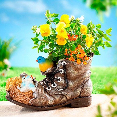 TRI Pflanz-Schuh Vögel, Blumentopf in Schuh Form aus Kunststein -