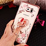 Galaxy S7 Edge Hülle,Galaxy S7 Edge Schutzhülle,Glänzend Glitzer Diamant Rose Blumen Muster Überzug TPU Silikon Durchsichtig Handyhülle Schutzhülle für Galaxy S7 Edge,Rose Gold Blumen & Ring Ständer
