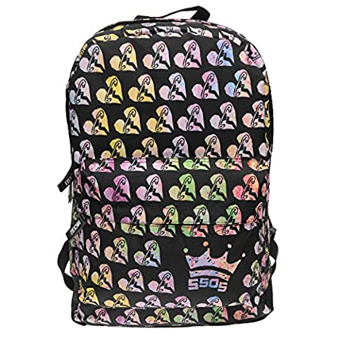 Rocksax 5 Seconds of Summer Licensed Band Backpacks and Bags - 5 Seconds of Summer Safety Pin Heart