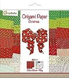 Avenue Mandarine OR506C Kreativset (mit Origami Papier, 60 Bögen (30 designs x2), 20x20 cm 70 g, beidseitig bedruckt + 1 Augenbögen, Bastelaktivität, ideale für Kinder) 1 Pack Weihnachten