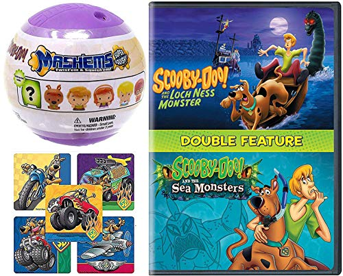 Creature Feature Scooby-Doo Mystery Spooky Loch Ness Monster + Sea Monster Cartoon DVD Pack + Soft Character Figure with Action Stickers
