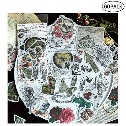 Geggur Ephemera Pack, Aufkleber für Fotoalben 60 Stück Hinweis Aufkleber Selbstklebend zum, Notizbuch, Tagebuch, Kartenherstellung, Briefe (1) -