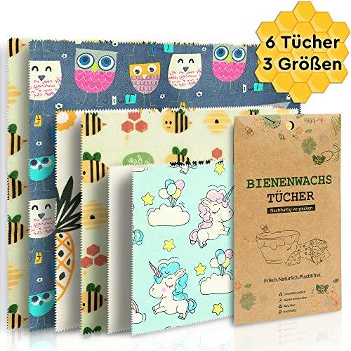 ForBee 6er Set Bienenwachstücher für Lebensmittel wiederverwendbar plastikfrei | Umweltfreundliche Alternative zu Frischhaltefolie Alufolie | Sustainable Reusable Eco Food Beeswax Wrap Paper Chains