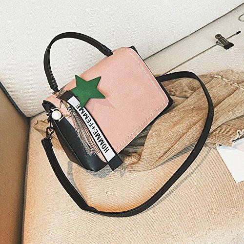 Pacchetto LiZhen autunno femmina nuovo stile Coreano a due lati opaca partito piccole confezioni Borsetta piccola confezione tracolla messenger bag, giallo con decorazioni Rosa con decorazioni