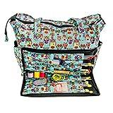 Sac de tricotage à bandoulière, avec sympathiques motifs hiboux - Rangement pour accessoires de couture et tricotage artisanal