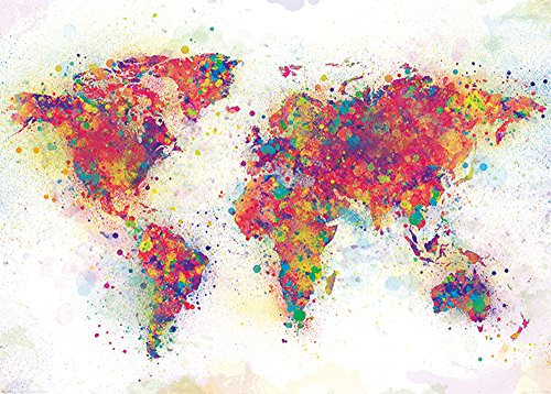 empireposter World Map - Colour Splash Giant - Giant XXL Poster - Größe 140x100 cm -