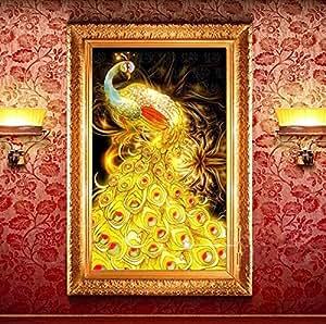 """KING DO WAY Kit De """"Paon"""" 3D Peinture De Diamant Résine Bricolage DIY Point De Croix Broderie Décor Salon Chambre Diamond Painting-75cmX50cm"""