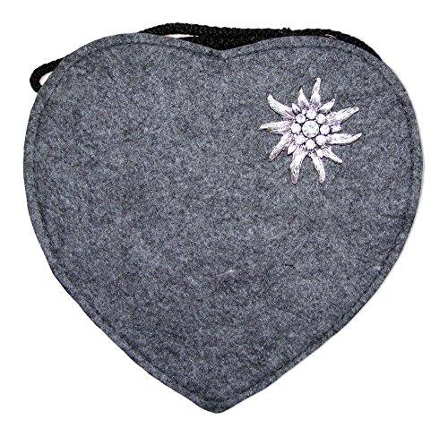 Herz Trachtentasche mit Edelweiß Dunkelgrau (S4 Handtasche Fällen)