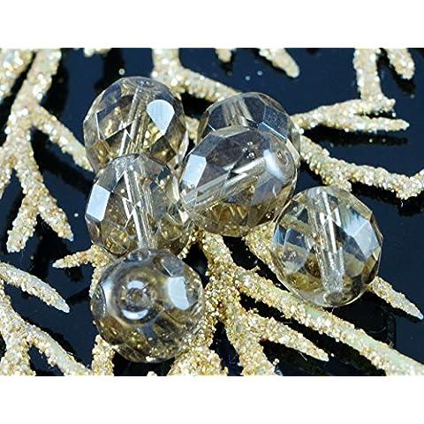 Marrone Chiaro Cristallo ceco Vetro Sfaccettato Perle di Fuoco Lucido 10mm (Perline Di Cristallo Di Sfaccettatura)