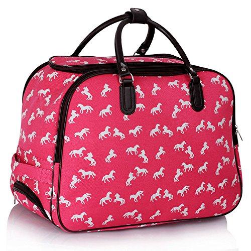 LeahWard® XL Reisetasche Reisegepäck Taschen Wagen Taschengage mit Rads UrlaubGym Wochenende zu Ende Ausgehabend Taschen 309, Rosa Pferd, Groß (Tasche Rosa Polka Dot)