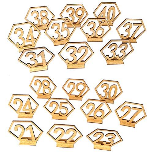 exagon Holztisch Zahlen Hochzeit Dekorationen Tischkarten mit Halter Basis für Hochzeit Tischdekoration 20 STÜCKE (Zahlen 21-40) ()