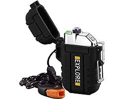Briquet Électrique USB Rechargeable Coupe-Vent Plasma Briquet Briquet à Arc sans Flamme avec Sifflet d'urgence pour Randonnée