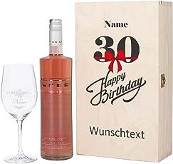 Herz & Heim® Bree Wein-Geschenk mit graviertem Weinglas und Bree Wein zur Auswahl in Präsentbox zum 30. Geburtstag