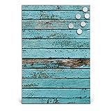 BANJADO Design Magnettafel Edelstahl | Schreibtafel magnetisch 35cm x 50cm | Memoboard mit 6 Magneten | Magnetwand mit Motiv Blaue Holzlatten