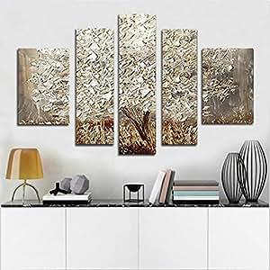 H.COZY main 5 Piece Peintures à l'huile sur toile Paysage Wall Art Silver Tree Photos de Salon Home Decor Fte186 (sans le cadre)