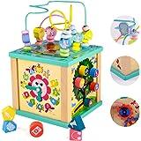 yoptote Juguetes Montessori Mesa Actividade Madera Cubo de Actividades Infantil Abaco Infantil Torre de Aprendizaje Juegos Ed