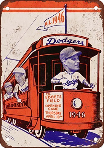 NGLJ 1946 Brooklyn Dodgers Vintage Look Reproduction Metal Tin Sign 8X12 Inches (Brooklyn Popcorn)