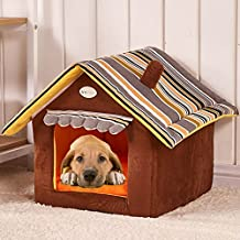 Semoss Rayas Diseño Casa Perro Exterior Cama Perro Grande Impermeable Jaula Perro Plegable Interior Perrera Perros para Perros,Gatos,Conejos y Animales Marrón,Tamaño:M,40 cm X 35 cm