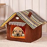 Bild: Semoss Streifen Modell Faltbar Hundehaus Hundehöhle Wasserdicht Hundehütte Hundekorb Outdoor und Indoor Haustierhaus Katzenhöhle Warm für HundeWelpenKatzen BraunGrößeL50 cm X 45 cm