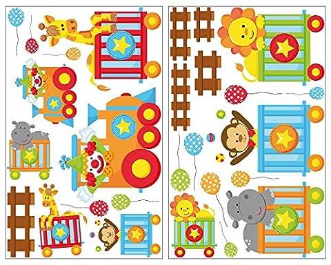 27-teiliges Tierzug Wandtattoo Set Giraffe Wandsticker Löwe Kinderzimmer in 5 Größen (2x21x34cm (Treno Decorazione Della Parete Di)