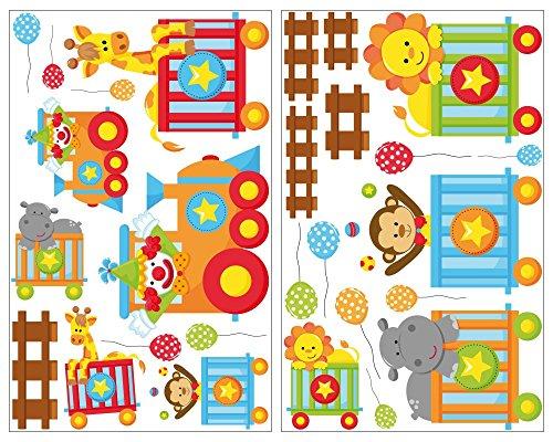 Per treno Adesivo da parete animali giraffa adesivi da parete leone cameretta bambini, 27 pezzi, (Treno Decorazione Della Parete Di)