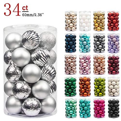 Busybee unbekannt palline di natale 34 pezzi 6 cm argento palline natalizie ornamento di palla di natale per la decorazione dell'albero di natale
