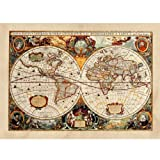 Poster / Tela Canvas - Antica Mappa 1646 Mondo World Cartina Geografica Mondo - Arredamento - 70x100cm - Tela Canvas