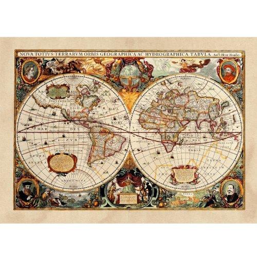 Poster / Tela Canvas - Antica Mappa 1646 Mondo World Cartina Geografica Mondo - Arredamento - 30x40cm - Tela Canvas