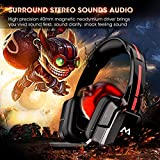 PC Gaming Headset, Mpow USB Stereo Gaming Headset [Lightweight Style] with Noise Canceling Mic & Volume Control for PC, Extra 3.5mm Jack for PS4/ Xbox One/ Nintendo Switch/ Smartphone (Soft Earmuff , Black)