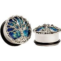 KUBOOZ Blue Planet Silvery Tree Tappi per le orecchie Tunnel Calibri Gioielli per Piercing barella