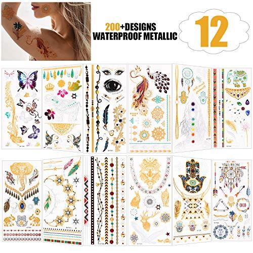 Tatuaggi temporanei per bambini adulti donne uomo (12 fogli), konsait oltre 150 tipi impermeabile tatuaggio temporaneo adesivi tatoo finti removibili, 4.01 × 8.26''