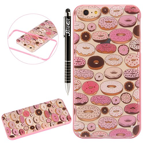 SainCat Coque Housse iPhone 6, Souple Coque Etui en Silicone, iPhone 6S Silicone Transparent Case TPU Cover, Etui de Protection Cas en caoutchouc en Ultra Slim Souple Cristal Clair Gel TPU Bumper Cas  Donuts#2