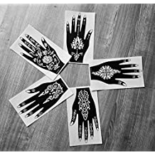 5PC sinistra parte superiore mano Enchancted indiano Arabian Tattoo riutilizzabile stencil adesivi per attirare around by Laminau