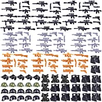 BOROK 140Pcs Weapons Set Custom Army Vest and Helmet for LEGO Mini Figures SWAT Team Soldiers Police