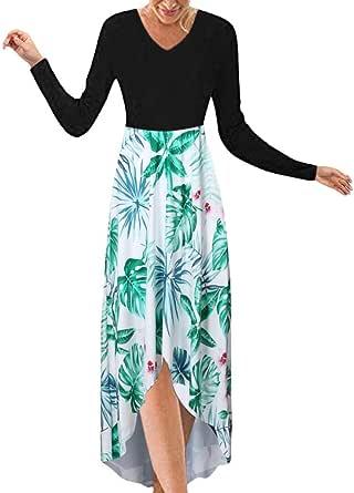 TIFIY Donna Vestiti Eleganti Maxi Abito Floreale Abiti Lunghi Allentati Casuale Manica Lunga Scollo a v Asimmetrico Patchwork Vestiti da Cerimonia Plus Size Donna