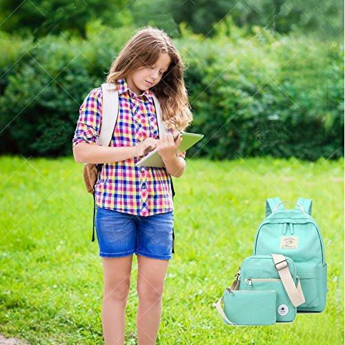 SymbolLife Rucksack damen Herren Teenager Groß Schulrucksack Casual Daypack Backpack Rucksäcke Laptop Rucksack Canvas Reisetasche mit Mäppchen für Universität Outdoor Sport Freizeit 30 X 43 X 14cm, Wa Wasser Blau(A628)