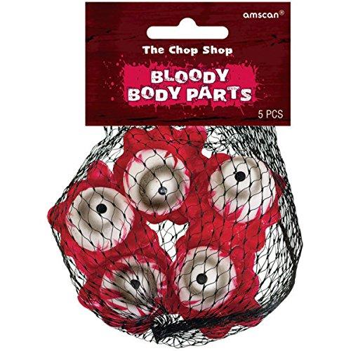 5 Deko-Körperteile * BLUTIGE AUGEN * als Dekoration für Halloween oder eine gruselige Motto-Party // Chop Shop Augäpfel Blut Mottoparty (Halloween Dekoration Augäpfel)
