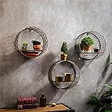 TRRE@ Loft Round Grid Mensole in Ferro, scaffali a Parete Vintage/Ripiani / fioriere 31 * 13 * 31cm Mensole da Muro (Colore : Style 1+2+3)