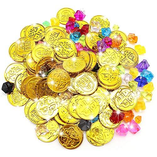 unststoff Goldmünzen und Edelsteine   Schmuck Party Spielzeug Spiel Zubehör für Kinder ()