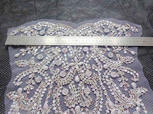 Sew on cristalli strass argento della maglia applique a mano